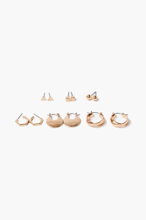 GOLD Upcycled Hoop & Stud Earrings Set, image 1