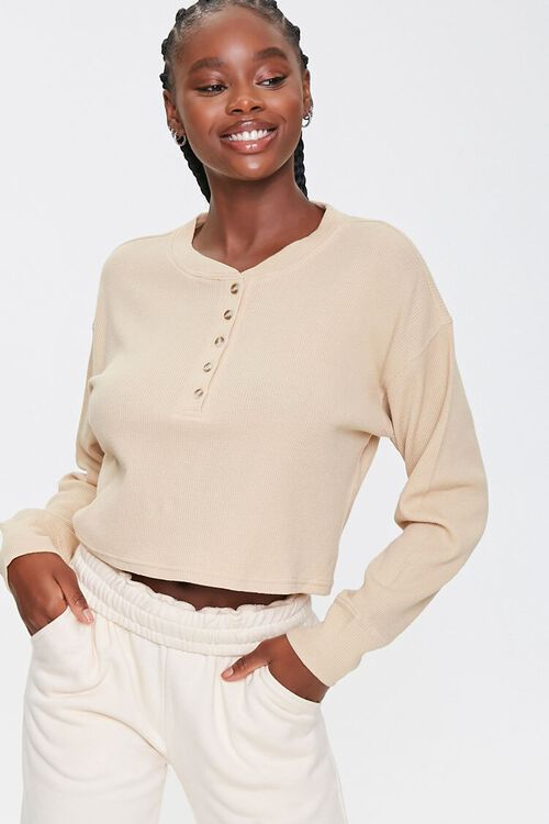 Waffle Knit Henley Top, image 1