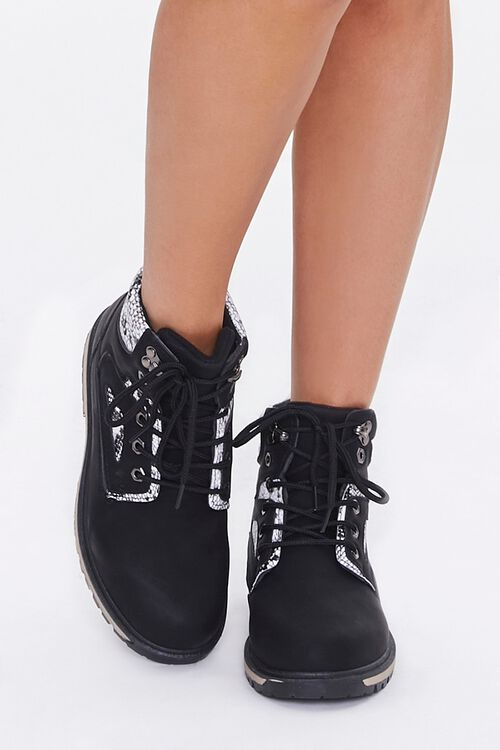Faux Suede & Snakeskin Ankle Boots, image 4