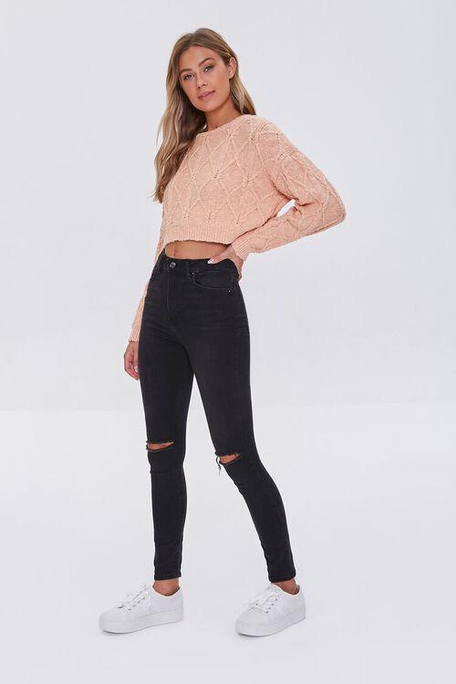 PEACH Cotton-Blend Lattice Sweater, image 4