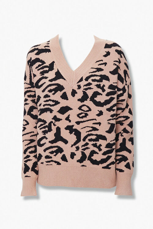 Animal Print V-Neck Sweater, image 1