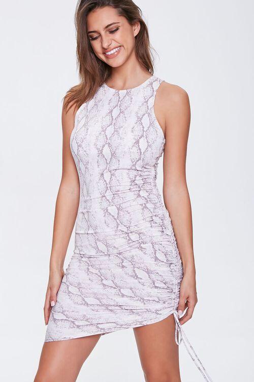 Snake Print Drawstring Dress, image 1