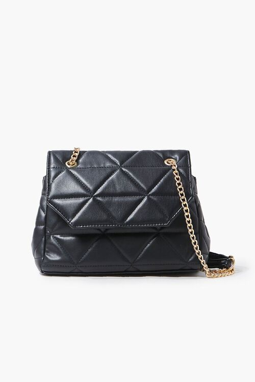 BLACK Quilted Faux Leather Crossbody Bag, image 1