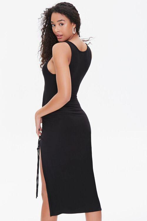 BLACK Ruched Drawstring Midi Dress, image 3