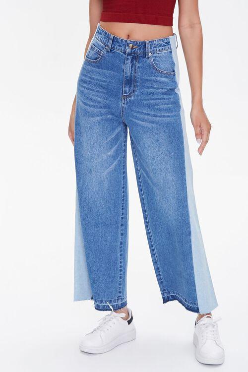 MEDIUM DENIM Side-Striped Wide-Leg Jeans, image 2