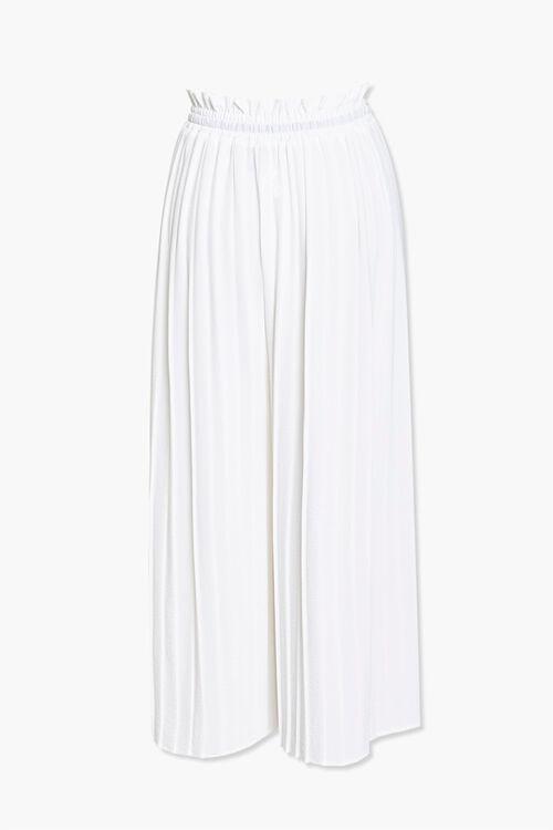 WHITE/BLACK Pleated Drawstring Culottes, image 3