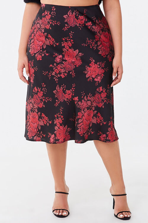 Plus Size Floral Satin Skirt, image 2