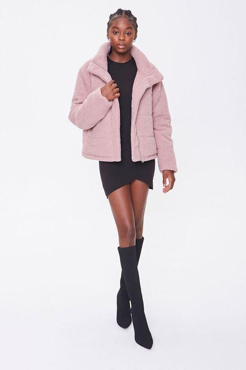 Faux Shearling Zip-Up Coat, image 4