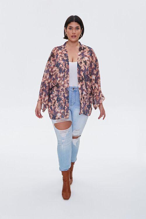 Plus Size Abstract Print Chiffon Kimono, image 4