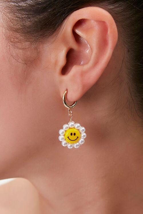 YELLOW Happy Face Drop Earrings, image 1