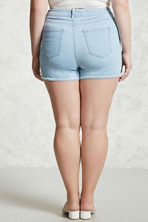 LIGHT DENIM Plus Size Frayed Denim Shorts, image 3