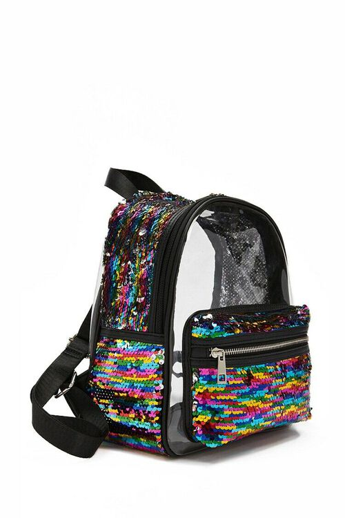 Rainbow Sequin Transparent Backpack, image 2