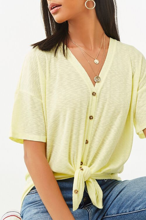 V-Neck Button-Front Top, image 1
