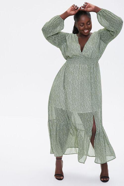 Plus Size Floral Peasant Maxi Dress, image 1