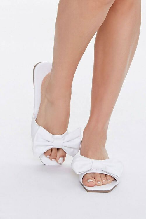 Faux Leather Slip-On Bow Sandals, image 4