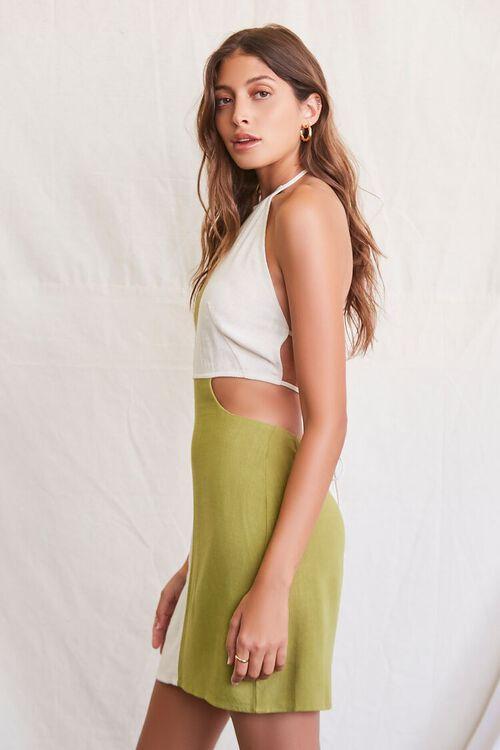 OLIVE/NATURAL Colorblock Halter Mini Dress, image 2