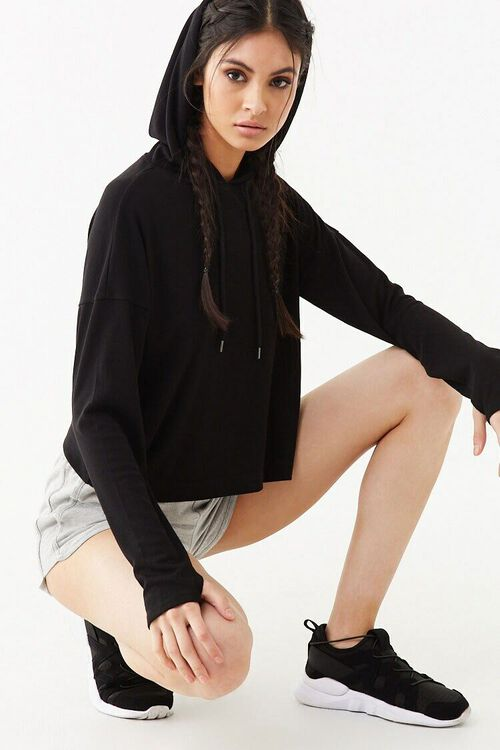 Active Ribbed Hooded Top, image 1