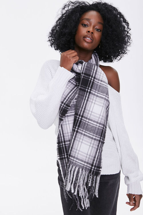 Plaid Oblong Scarf, image 1