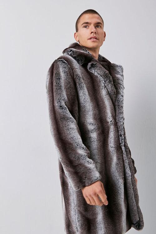 Faux Fur Striped Print Coat, image 1