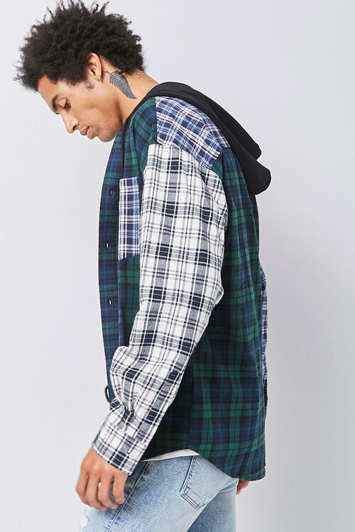Plaid Patternblock Hooded Shirt, image 2