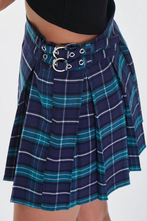 NAVY/HUNTER GREEN Buckled Plaid Pleated Skirt, image 6