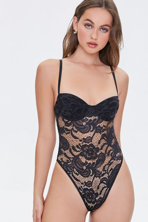 BLACK Embroidered Lace Bodysuit, image 4