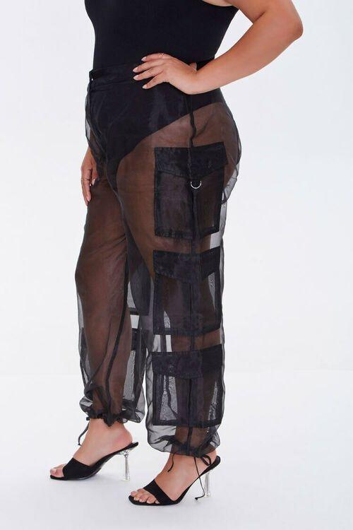 Plus Size Sheer Organza Cargo Pants, image 4