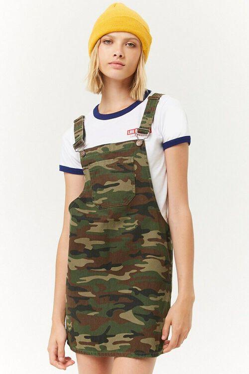 Camo Denim Overall Mini Dress, image 1