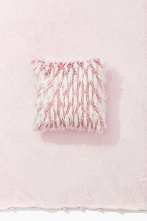BLUSH/WHITE Faux Fur Throw Pillow, image 1
