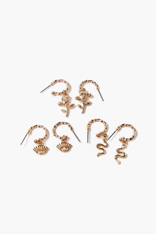 Eye Charm Twisted Hoop Earring Set, image 1