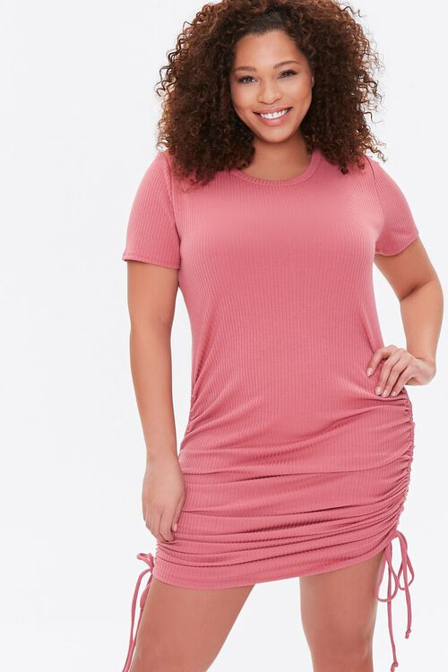 Plus Size Ruched Drawstring T-Shirt Dress, image 1