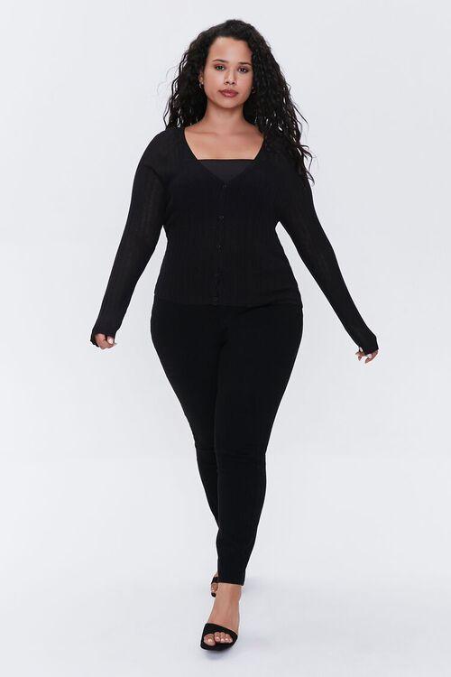 Plus Size Ribbed Cardigan Sweater, image 4