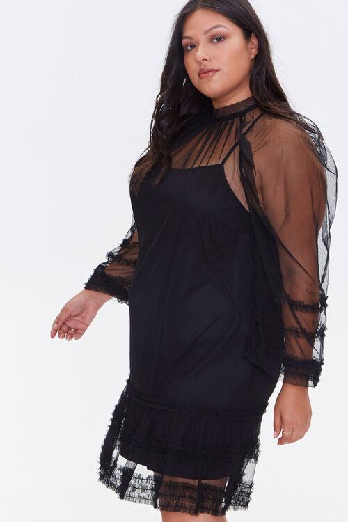 Plus Size Ruffled Mesh Mini Dress, image 2