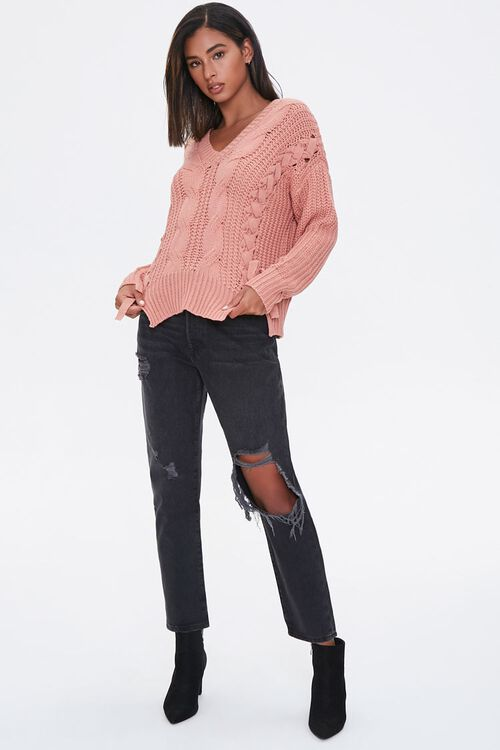Lace-Up Cable Knit Sweater, image 4
