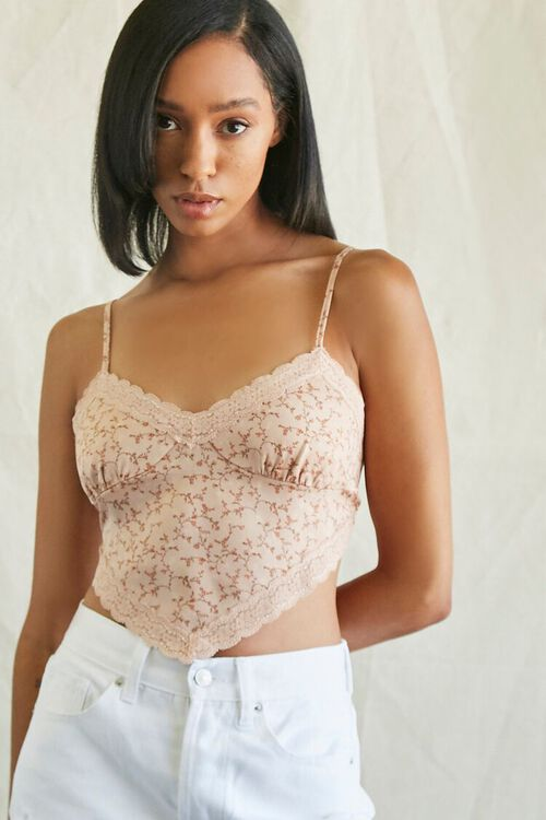 Floral Print Tie-Back Cropped Cami, image 1
