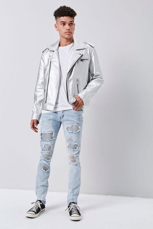 Rhinestone Distressed Skinny Jeans, image 4