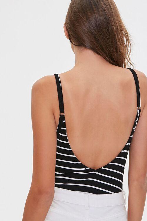 BLACK/WHITE Ribbed Cami Bodysuit, image 3