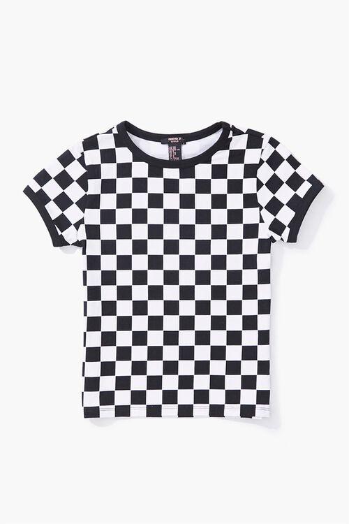 Girls Checkered Ringer Tee (Kids), image 1
