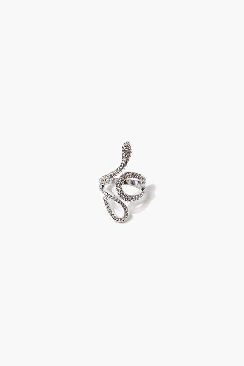 SILVER Rhinestone Snake Ring, image 1