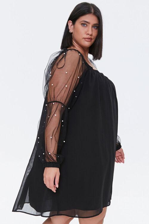 Plus Size Faux Pearl-Sleeve Mini Dress, image 2