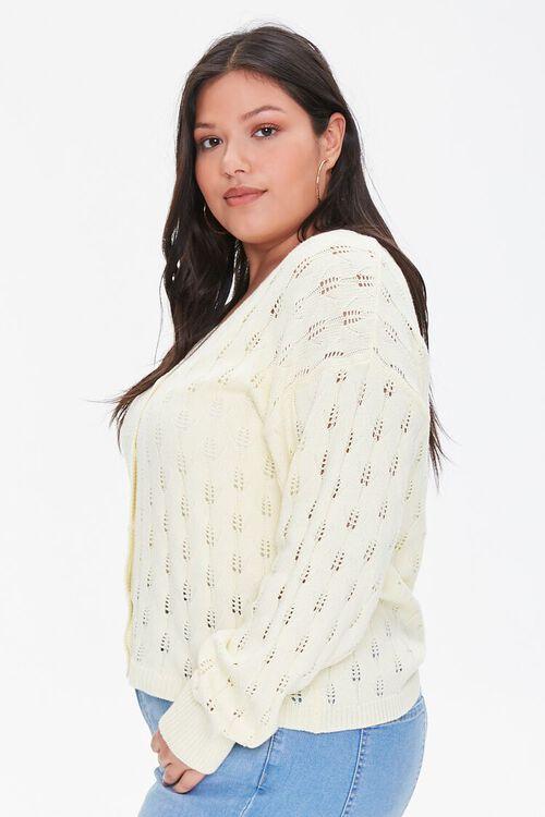 Plus Size Open-Knit Cardigan Sweater, image 2