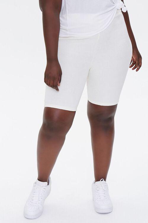 Plus Size Embossed Biker Shorts, image 2
