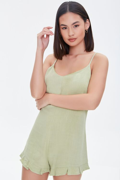 Lace-Up Cami Romper, image 1