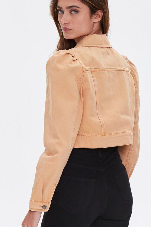 TAN Puff Sleeve Denim Jacket, image 3