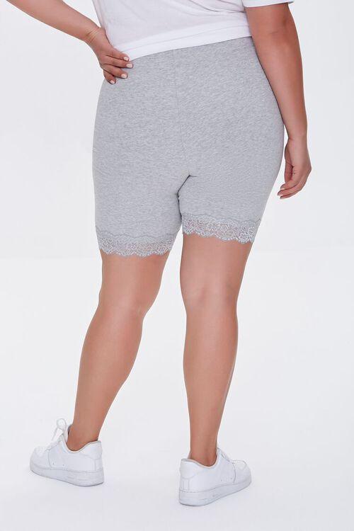 HEATHER GREY Plus Size Lace-Trim Biker Shorts, image 4