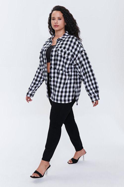 Plus Size Checkered Flap-Pocket Jacket, image 4