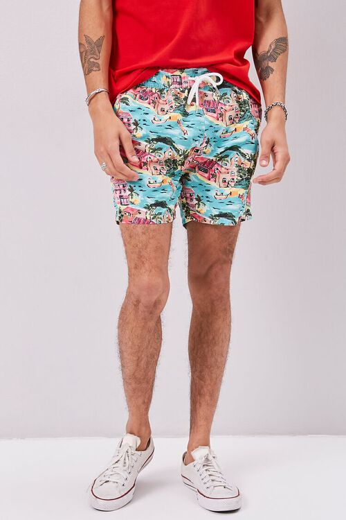 Tropical Print Swim Trunks, image 2