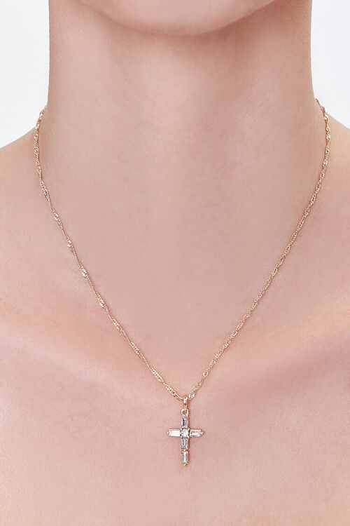 GOLD/CLEAR Cross Pendant Chain Necklace, image 1