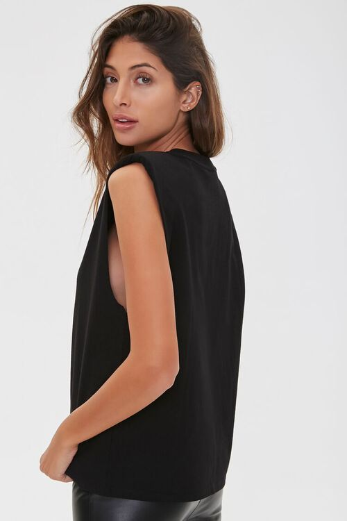 BLACK/TAUPE Face Graphic Embroidered Muscle Tee, image 2