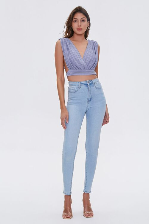 Pleated Surplice Crop Top, image 5